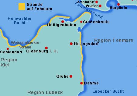 Fehmarn Karte Ostsee.Die Strande Am Vorland Von Fehmarn Ausflugsziele Und